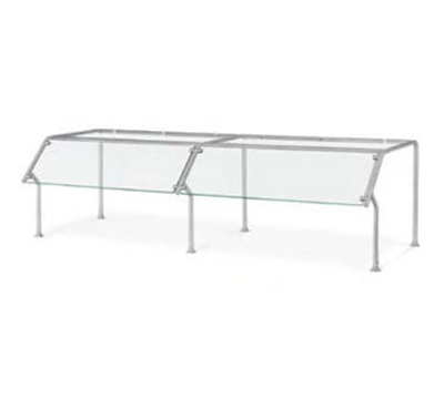 Vollrath 98654 Breath Guard with Top Shelf for 6-Well Single Sided Buffet - Glass/Stainless