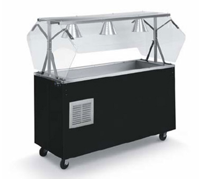 Vollrath R3895046 3-Well Cold Station with Lights - Buffet Breath Guard, Solid Base, Walnut 120v