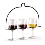Vollrath WR-1028-06 In-Line Wire Stemware Flight Caddy - Holds 3 Glasses, Black