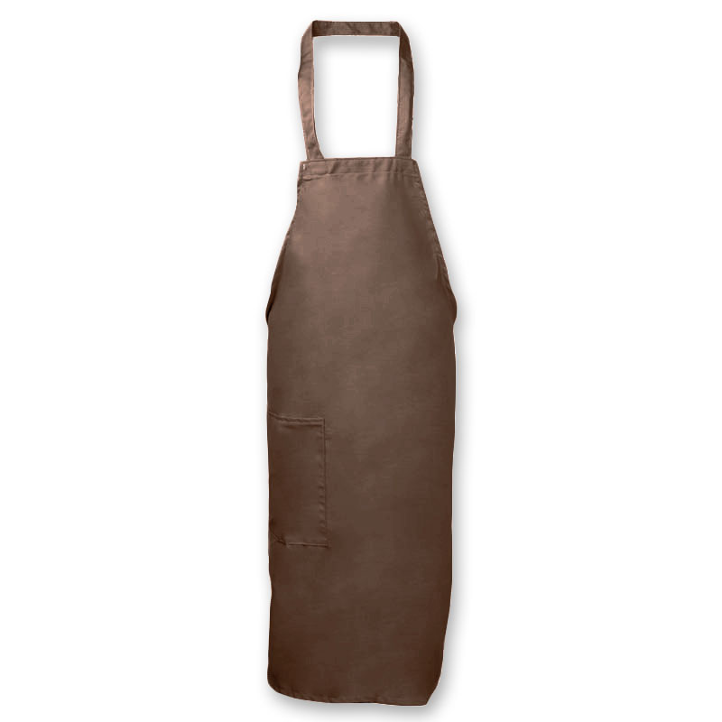 "Intedge 335-1 B Deluxe Bib Apron & Tie w/ Hip Pocket, 32 x 28"" Brown"