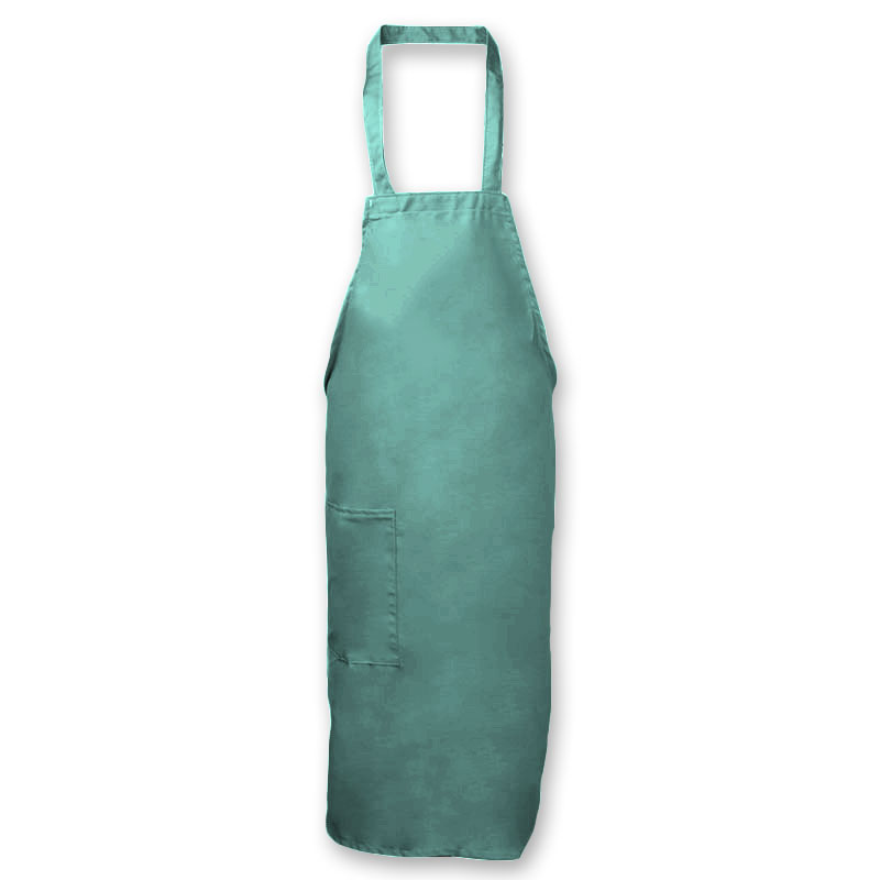 "Intedge 335-1 HG Deluxe Bib Apron & Tie w/ Hip Pocket, 32 x 28"" Hunter Green"