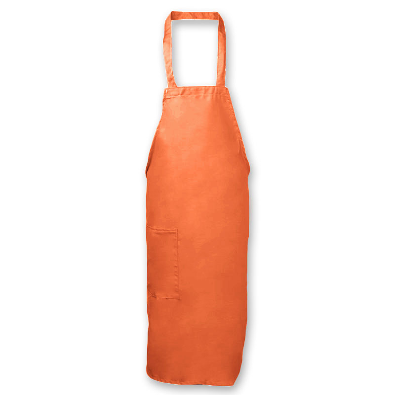 "Intedge 335-1 OR Deluxe Bib Apron & Tie w/ Hip Pocket, 32 x 28"" Orange"