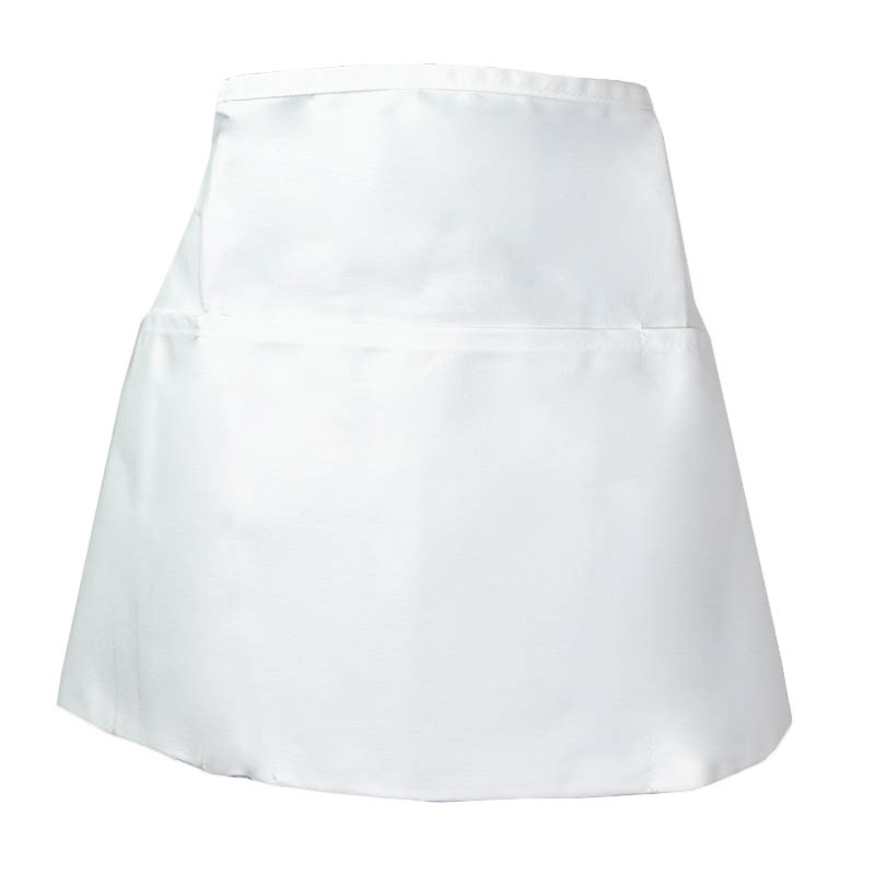 Intedge 342W Apron Half Waist White, 3 Divided Pockets, Polyester