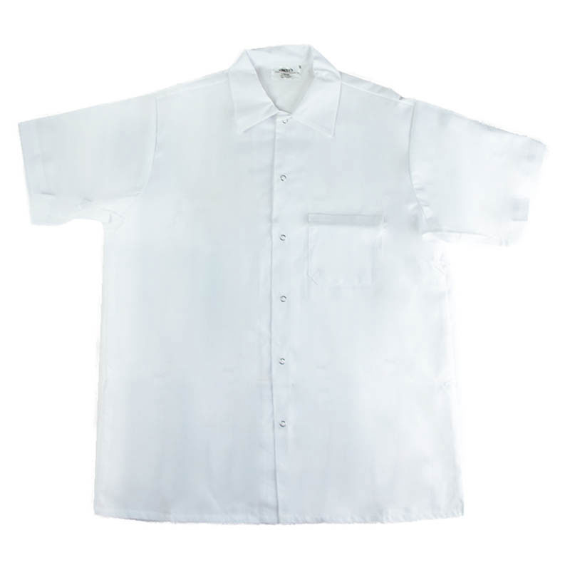 Intedge 344SHM Kitchen Shirt, Short Sleeves w/ Snaps, White, Medium