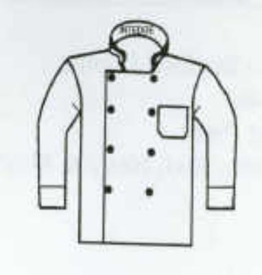 Intedge 345BXXL Chef Coat, Double Breasted w/ One Pocket, White, 2X Large