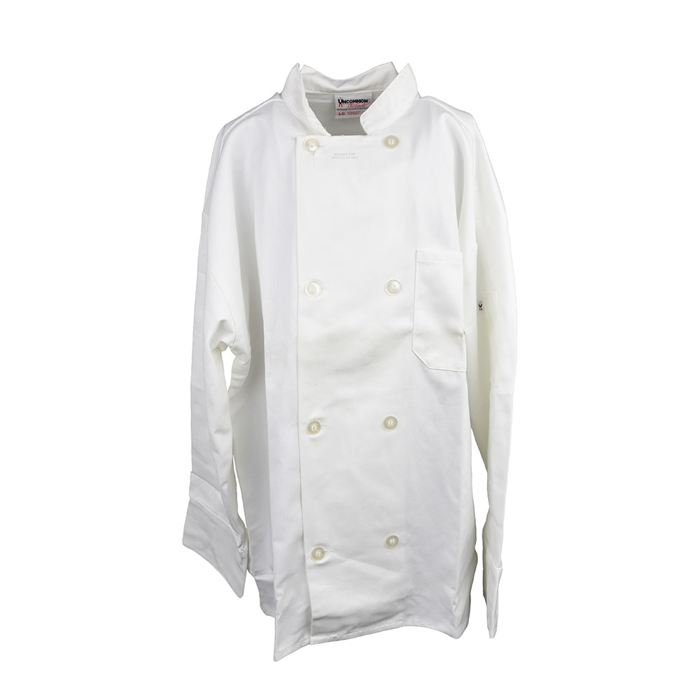 Intedge 345BL Chef Coat, Double Breasted w/ One Pocket, White, Large