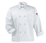 Intedge 345B L BLK Chef Coat w/ Button Closure, Poly Cotton, Large, Black