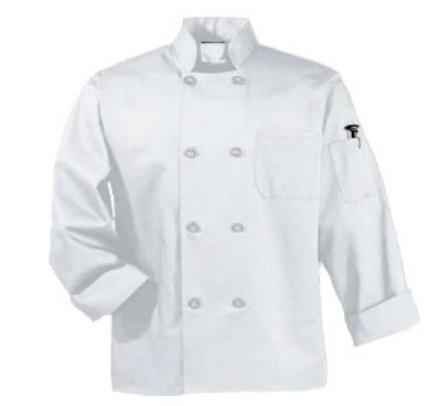 Intedge 345B L BE Chef Coat w/ Button Closure, Poly Cotton, Large, Beige