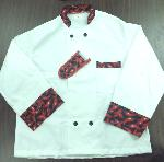 Intedge 345HPXL Chef Coat, Double Breasted, White w/ Hot Pepper Trim, X-Large