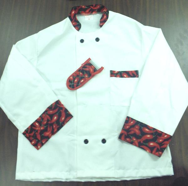 Intedge 345HPL Chef Coat, Double Breasted, White w/ Hot Pepper Trim, Large
