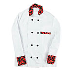 Intedge 345HPS Chef Coat, Double Breasted, White w/ Hot Pepper Trim, Small