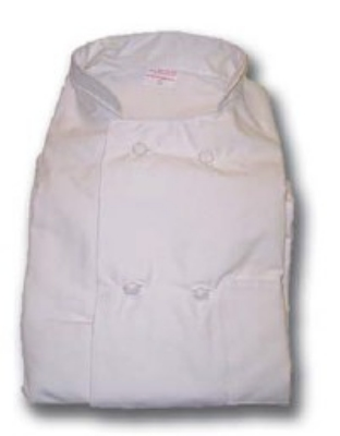 Intedge 345KB L BLK Double Breasted Chef Coat w/ Knotted Butt