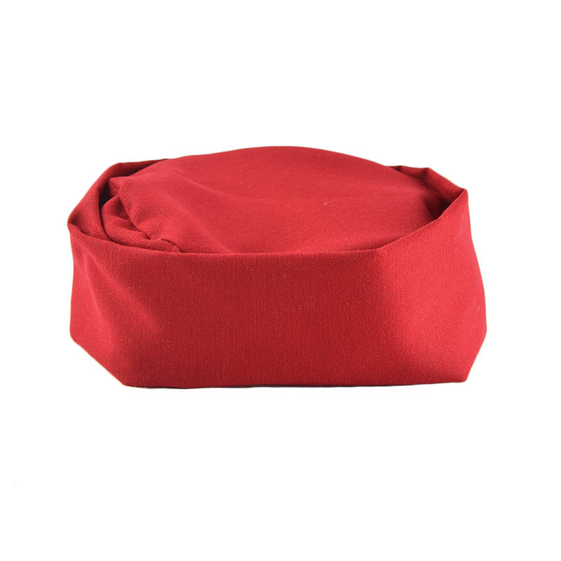 Intedge 346PB R Pill Box Hat Skull Cap w/ Flat Top, One Size, Red