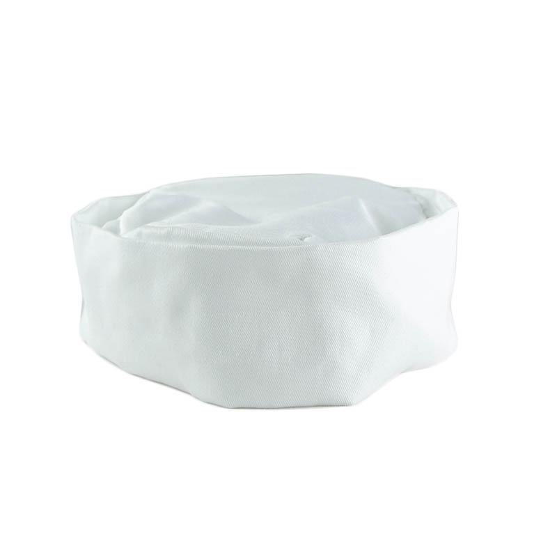 Intedge 346PB W Pill Box Hat Skull Cap w/ Flat Top, One Size, White