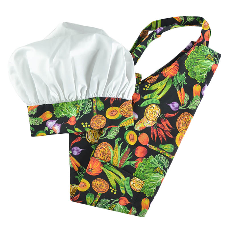 Intedge AHS-11 VEG Apron Hat Set w/ 1-Hip Pocket, Veggie Band