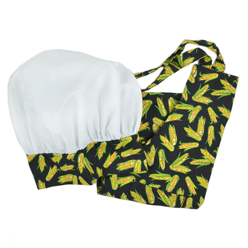 Intedge AHS-K10 CORN Kid Apron Hat Set w/ 1-Hip Pocket, Corn Band