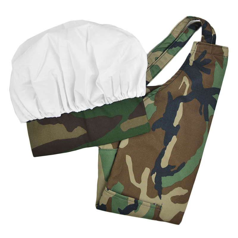 Intedge AHS-K1 CAMO Kid Apron Hat Set w/ 1-Hip Pocket, Camo Band