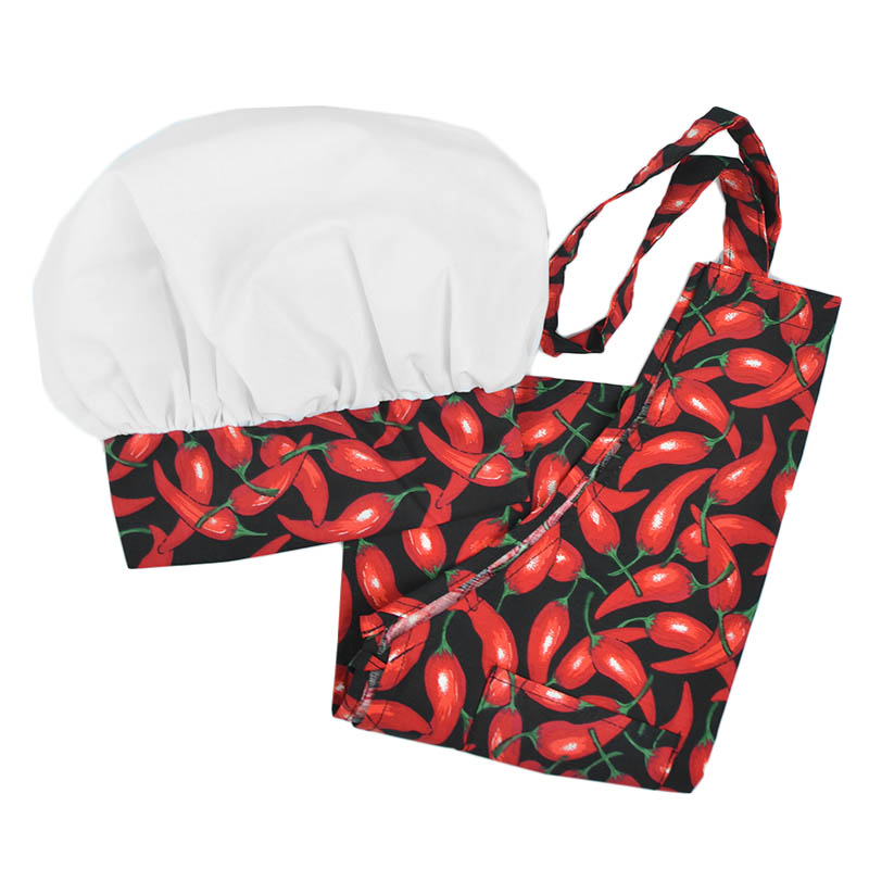Intedge AHS-K2 OCH Kid Apron Hat Set w/ 1-Hip Pocket, Chili Pepper Band