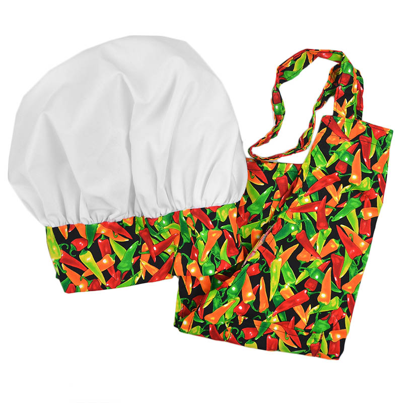 Intedge AHS-K3 MP Kid Apron Hat Set w/ 1-Hip Pocket, Multi Pepper Band