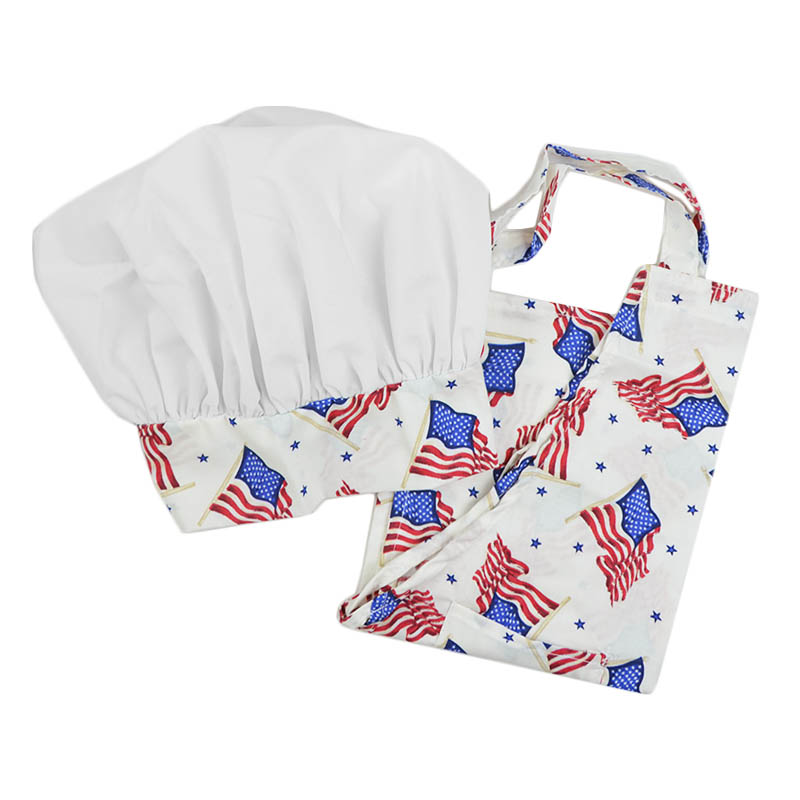 Intedge AHS-K4 F Kid Apron Hat Set w/ 1-Hip Pocket, Flag Band