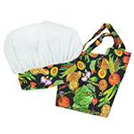 Intedge AHS-Y 11 VEG Youth Apron Hat Set w/ 1-Hip Pocket, Veggie Band