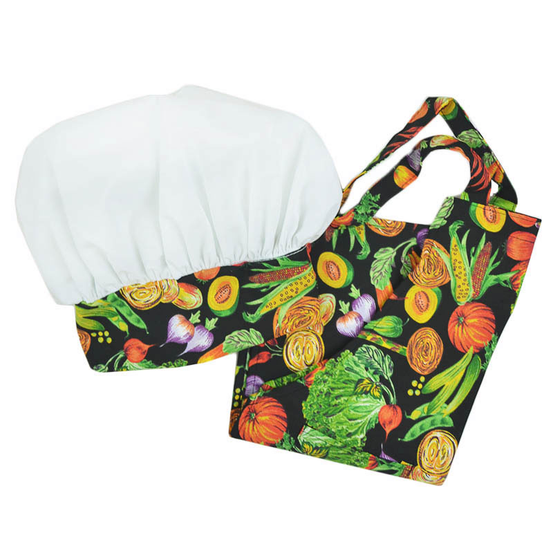 Intedge AHS-Y 11 VEG Youth Apron Hat Set w/ 1-Hip Pocket, Veggie Band