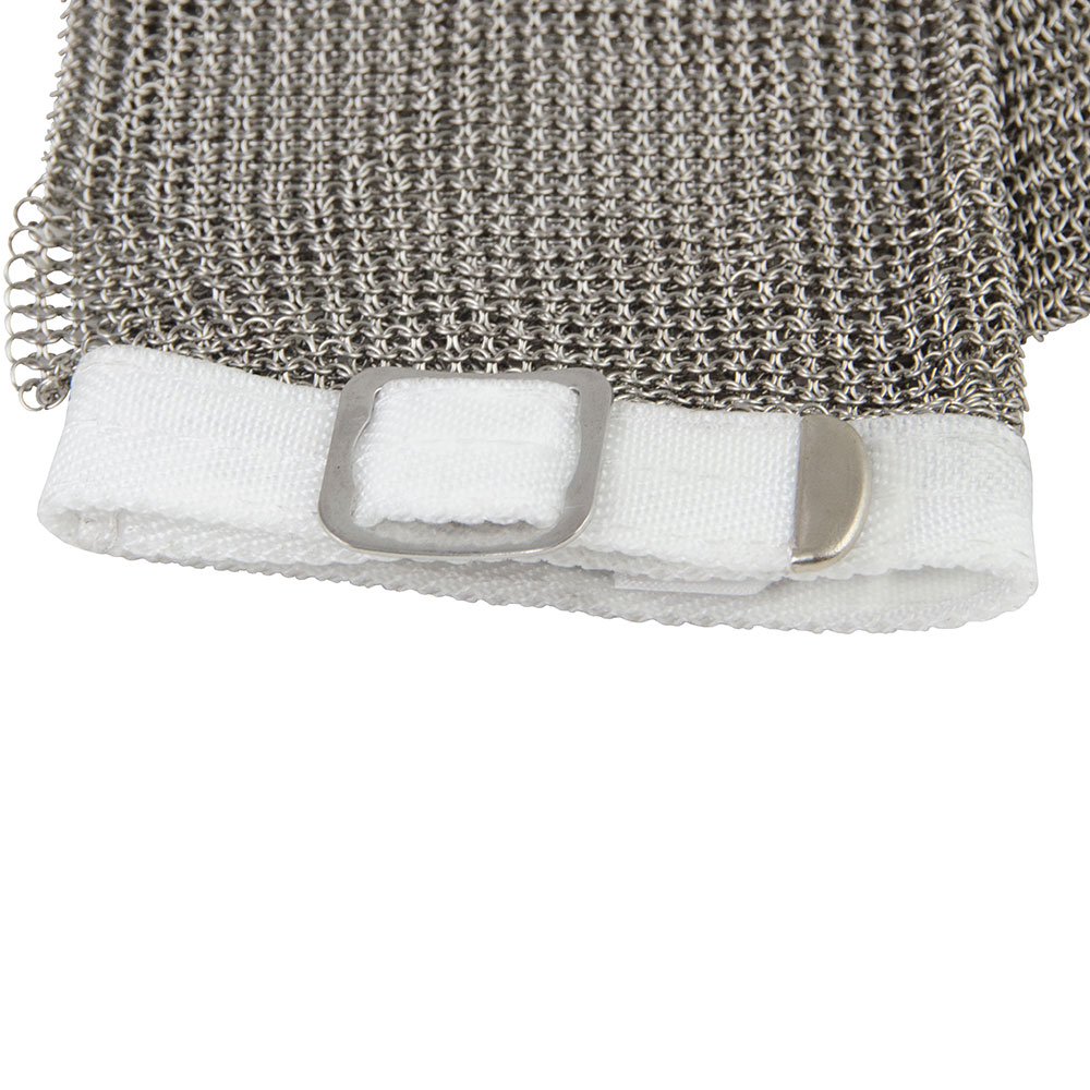 Intedge MM SM 5-Finger Stainless Steel Mesh Glove w/ Poly Wrist Strap, Small