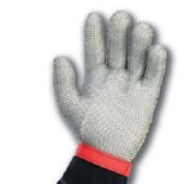 Intedge MM XS 5-Finger Stainless Steel Mesh Glove w/ Poly Wrist Strap, X-Small