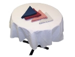 "Intedge TCM64R W 64"" Round Tablecloth w/ Hemmed Edge, White"