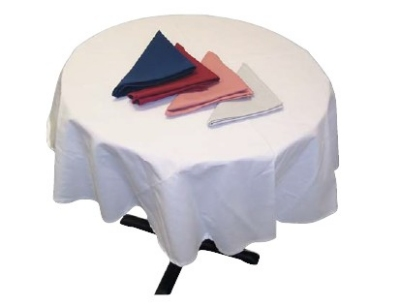 "Intedge TCM90R W 90"" Round Tablecloth w/ Hemmed Edge, White"