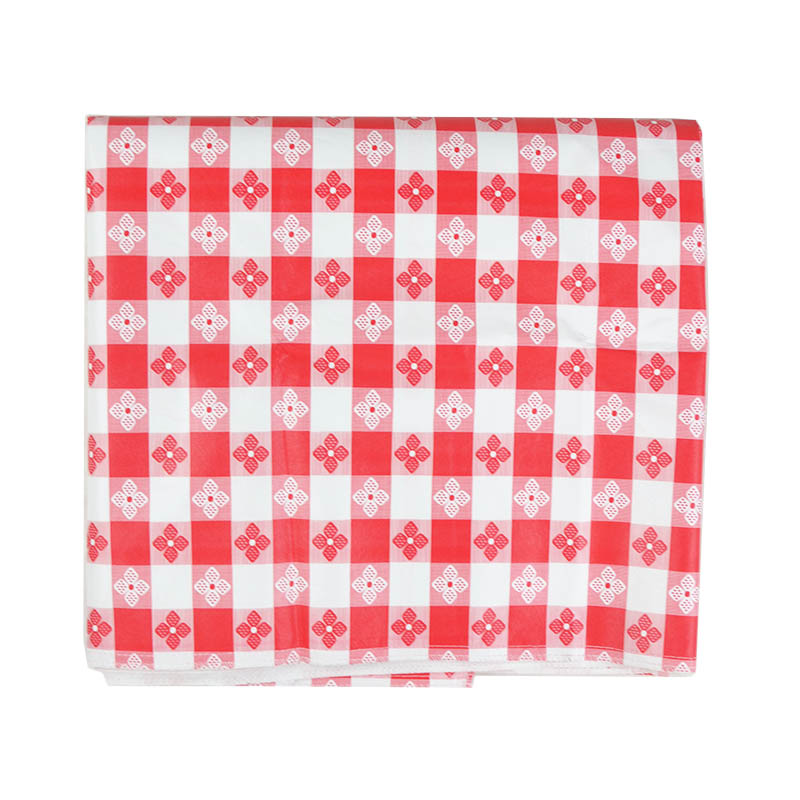 Intedge VC5252TCR Vinyl Table Covering, Tavern Check Design, Red/White, Flannel Back, 52 in x 52
