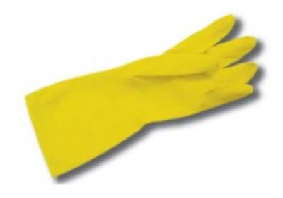 "Intedge YFG M 17"" Yellow Latex Glove w/ Textured Palm, Flock Lined, Medium"