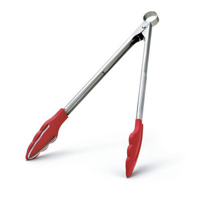 "Cuisipro 74-717805 12"" Tongs w/ Teeth, Locking Pull Mechanism, Red"