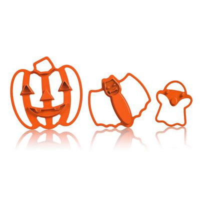 Cuisipro 74-7338 Halloween Imprint Cookie Cutter Set w/ Jack-o'lantern, Bat, and Ghost