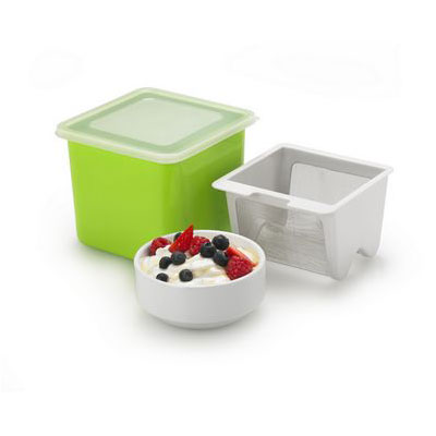 Cuisipro 74-742605 Yogurt Cheese Maker w/ Plastic Container & Stainless Fine Mesh Strainer, Green