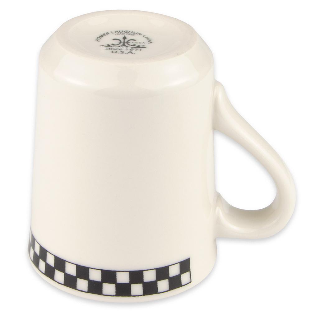 Homer Laughlin 1301636 8.25-oz Denver Mug - China, Ivory w/ Black Checkers