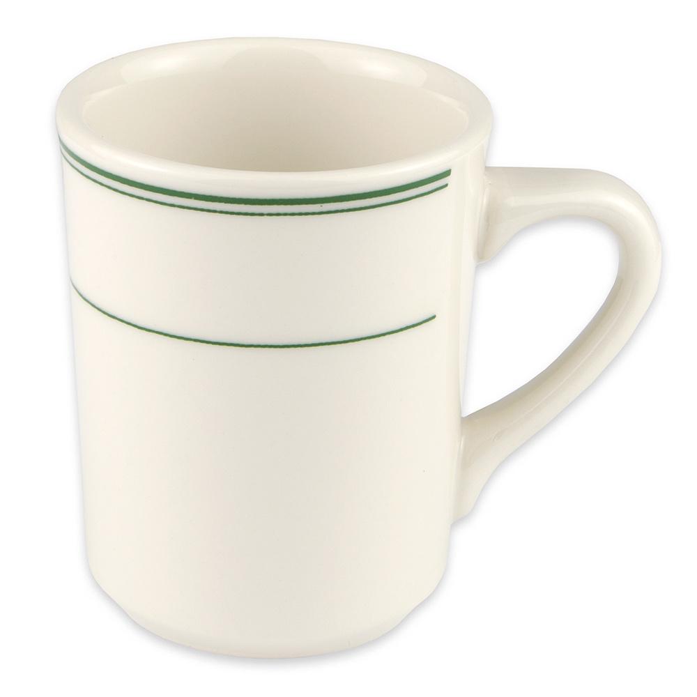 Homer Laughlin 1301 8.25-oz Denver Mug - China, Ivory w/ Green Band