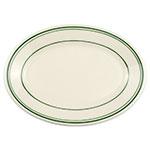 "Homer Laughlin 1531 9.5"" Oval Platter - China, Ivory w/ Green Band"