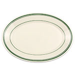 "Homer Laughlin 1541 10.5"" Oval Platter - China, Ivory w/ Green Band"