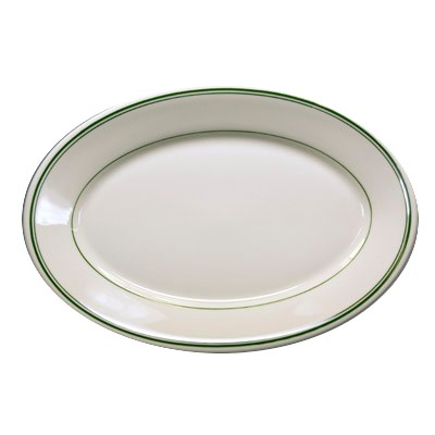 "Homer Laughlin 1571 13.38"" Oval Platter - China, Ivory w/ Green Band"