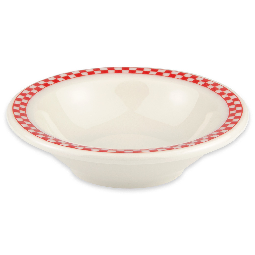Homer Laughlin 1655413 3.25-oz Fruit Bowl - China, Ivory w/ Red Checkers