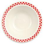 Homer Laughlin 1705413 9-oz Grapefruit Bowl - China, Ivory w/ Red Checkers