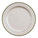 "Homer Laughlin 2011 6.25"" Round Plate - China, Ivory w/ Green Band"