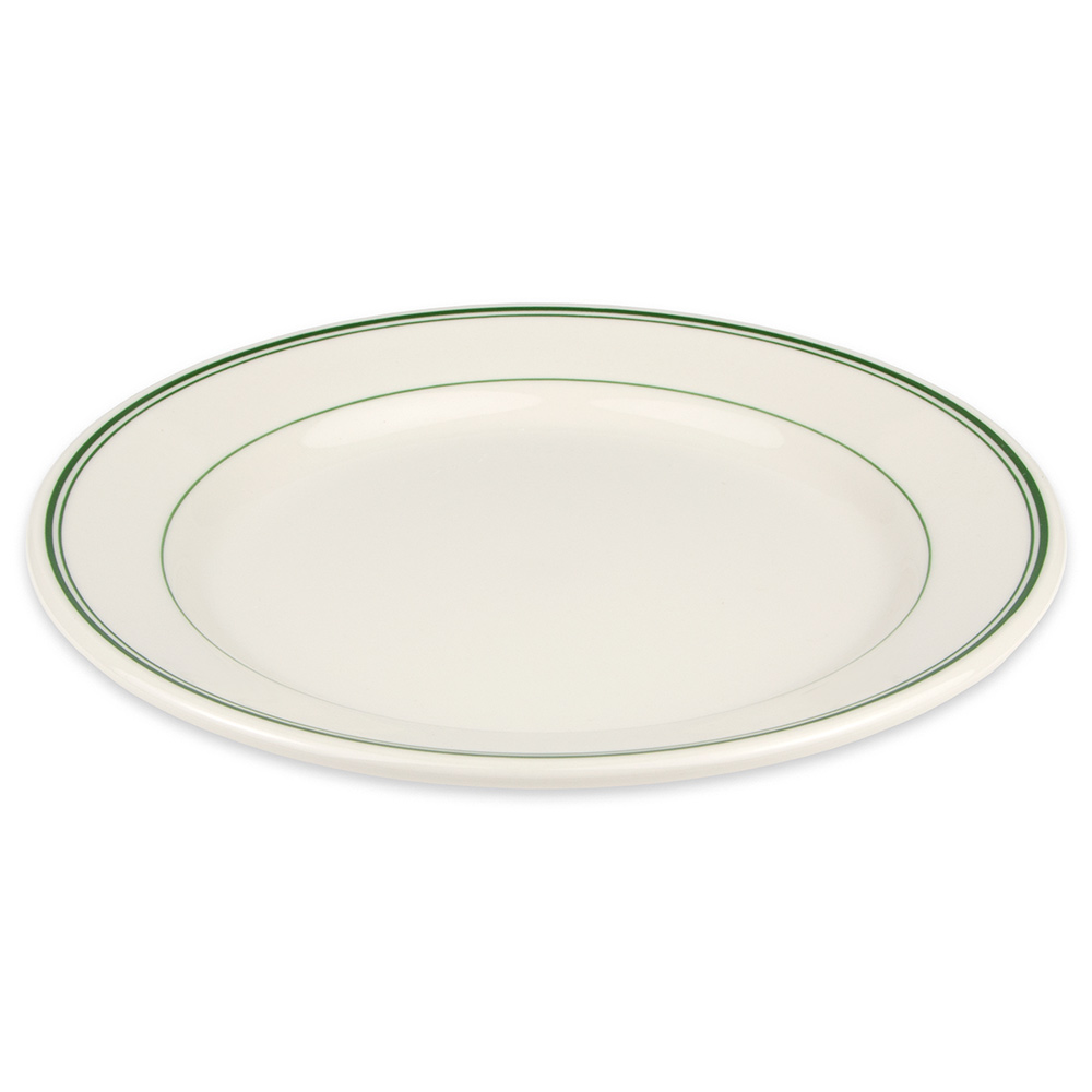 "Homer Laughlin 2061 9.63"" Round Plate - China, Ivory w/ Green Band"
