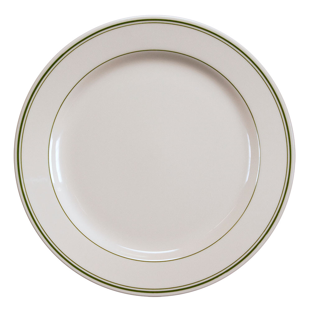 "Homer Laughlin 2101 12.25"" Round Plate - China, Ivory w/ Green Band"