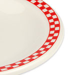 """Homer Laughlin 2115413 5.5"""" Round Plate - China, Ivory w/ Red Checkers"""