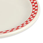 """Homer Laughlin 2125413 6.5"""" Round Plate - China, Ivory w/ Red Checkers"""