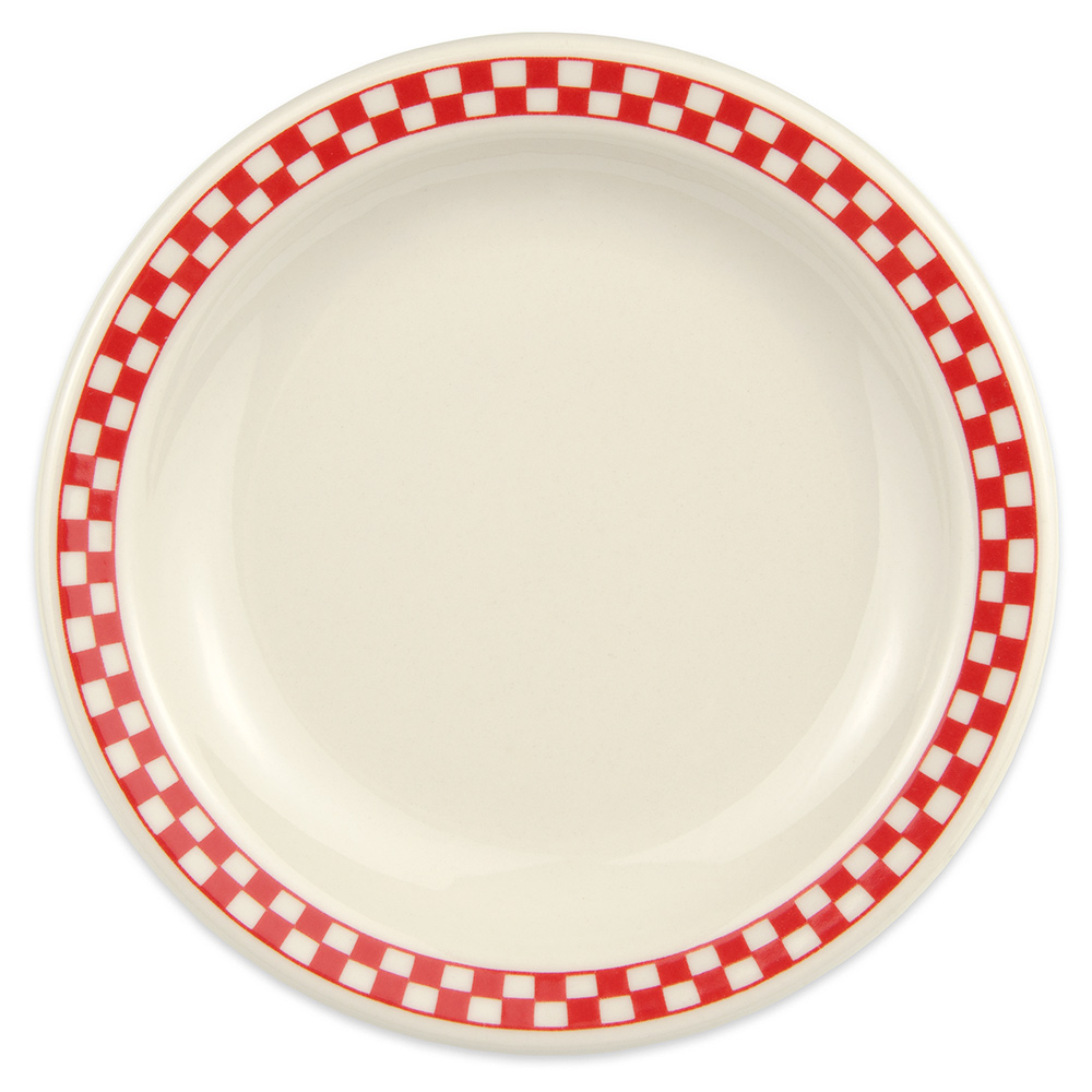 "Homer Laughlin 2125413 6.5"" Round Plate - China, Ivory w/ Red Checkers"