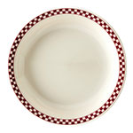 """Homer Laughlin 2135413 7.25"""" Round Plate - China, Ivory w/ Red Checkers"""