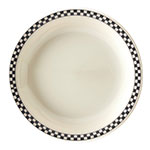 """Homer Laughlin 2241636 9"""" Round Plate - China, Ivory w/ Black Checkers"""